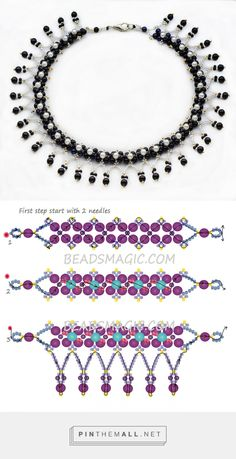 Best 11 Free pattern for beaded necklace Viva Diy Necklace Patterns, Seed Bead Patterns, Beaded Jewelry Patterns, Beading Patterns, Seed Bead Necklace, Seed Bead Jewelry, Bead Jewellery, Beaded Necklaces, Jewelry Crafts