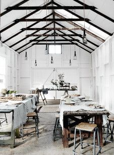 Inspired by scandinavian interiors, this beautiful old original 1902 barn at The Estate Trentham is painted white with rustic concrete floors, detailed wood walls and a concrete bench top sink and kit Concrete Bench, Concrete Floors, Architecture Design, Wonderland, Thanksgiving Table Settings, Old Barns, Scandinavian Home, Rustic Barn, Rustic Chic