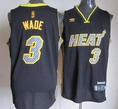 Heat #3 Dwyane Wade Black Electricity Fashion Embroidered NBA Jersey! Only $25.50USD