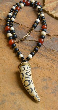 Matte Black Carnelian Horn Necklace