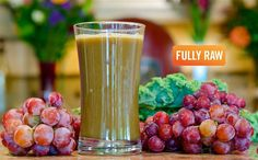 "Fully Raw's ""Holy Grale""Kale Juices can be bitter. But this delicious blend with grapes from Fully Raw is one of the best kale juice recipes I have tasted. YUM!"