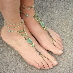 Fairy barefoot sandals - macrame beaded anklets turquoise green foot jewelry bridal jewel hippie soleless sandals