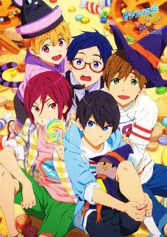 Tags: Scan, Official Art, Kyoto Animation, Hazuki Nagisa, Matsuoka Rin, Tachibana Makoto, Nanase Haruka (Free!), Free!, Ryugazaki Rei