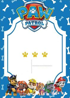 Plantilla Paw Patrol 3rd Birthday Party For Boy, Birthday Party Tables, Paw Patrol Birthday Decorations, Paw Patrol Birthday Invitations, Spiderman Theme, Party Themes, Scrapbook, Invite, Ideas