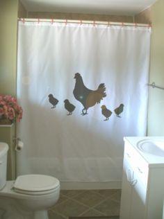 hen and chicks shower curtain chicken mother baby love farmily farm animal pet bathroom decor bath curtains custom size long wide waterproof by eternalart on Etsy
