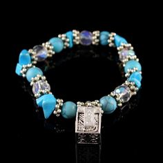 Garold Miller Silver tone Prayer Box Stretch Charm & Blue Bracelet N852 #GaroldMiller #Stretch