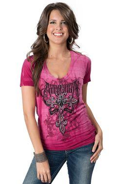 Affliction Women's Pink Daredevil Short Sleeve V-Neck Tee