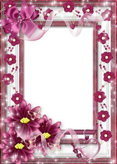 Beautiful Flower Transparent Frame with Pink Bow