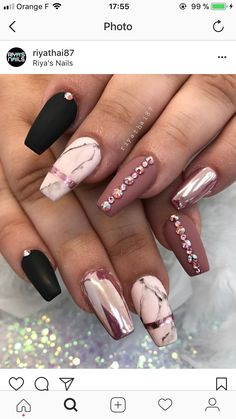 36 Trendy and attractive marble coffin nails design - make up and nails - . - 36 Trendy and attractive marble coffin nails design – make up and nails – … – - Marble Acrylic Nails, Cute Acrylic Nails, Cute Nails, Pretty Nails, Gel Nails, Nail Polish, Coffin Nails, Nail Nail, Acrylic Nail Designs Glitter