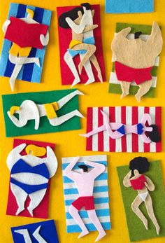 August 2013 ☞ Craft, Illustration ☞ Jacopo Rosati is an Italian illustrator based in Venice. Until last years, he only worked with digital illustrations, but he was kind of bored. Felt Crafts, Kids Crafts, Arts And Crafts, Art Carton, Illustrator, Fuzzy Felt, Frida Art, Felt Art, Beach Art