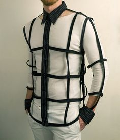 Mens Button Down Cage Shirt in Black - Urban Cyber Goth Fashion. $100.00, via Etsy.