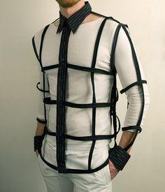 Mens Button Down Cage Shirt in Black - Urban Cyber Goth Fashion. $100.00, via Etsy.