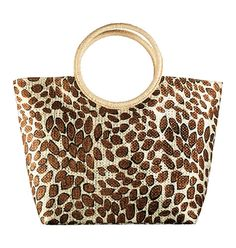 "The Leopard Print Tote Bag in Your_Avon_Melanierose's Garage Sale in Brooklyn , NY for $14.99. Paper straw/polyester. Magnetic-snap closure. Fully lined. 12"" H x 19 1/2"" W x 6"" D; Handle drop, 7""."