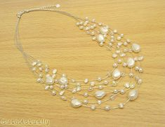 White freshwater pearl necklace with crystal on por CuteActually