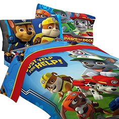 4pc Paw Patrol Twin Bedding Set Ruff Ruff Rescue Comforter and Sheet Set ** You can find out more details at the link of the image.