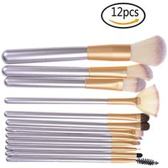 AOWA 12 Pcs Champagne Solid Wood Brush Sets Different Shapes Persian White Makeup Brush Kit *** You can find more details by visiting the image link. (This is an affiliate link) #BrushSets