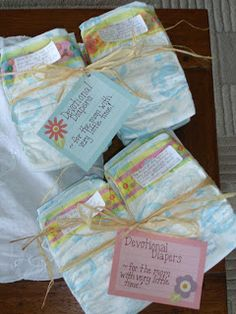 Devotional Diapers: A Great Idea as a Gift for Mother to Be!  How easy to personalize and make...