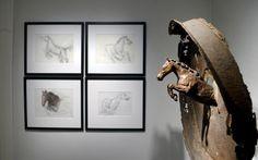 DON DARBY. Cheval et roue 1998. Bronze et roue de camion. Collection de l'artiste