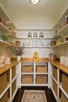 Maybe put beadboard in my future pantry? Would coordinate with the beadboard on ends of cabinets. Pantry Room, Pantry Storage, Walk In Pantry, Kitchen Storage, Pantry Shelving, Open Shelving, Food Storage, Basket Storage, Pantry Baskets