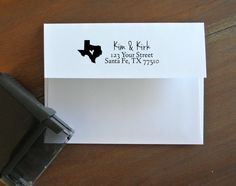 Custom Return Address Stamp - for save the dates, invitations, thank you cards, and holiday cards, texas wedding, texas save the date