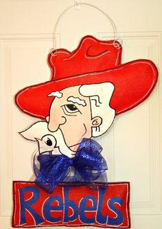 Ole Miss Rebels School Spirit College Team Burlap Door Hanger Decoration  Personalized Dorm Room/mlas $53