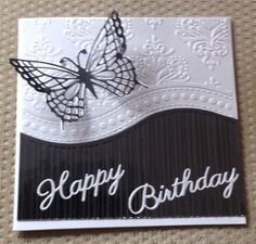 all occasions embossing folder cards Birthday Cards For Women, Handmade Birthday Cards, Happy Birthday Cards, Making Greeting Cards, Cricut Cards, Embossed Cards, Butterfly Cards, White Butterfly, Pretty Cards