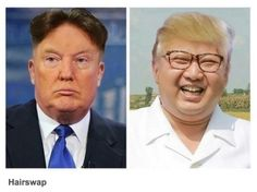 Hairswap President Donald Trump and North Korea's Kim Jong-un have remained locked in a war of words ever since the former took office, but it certainly isn't Memes Humor, Funny Memes, Funniest Memes, Funny Signs, Funny Shit, Funny Stuff, Donald Trump, Small Minds, Political Satire