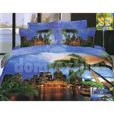 Modré posteľné obliečky s motívom večerného mesta