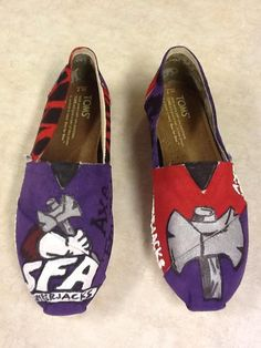 SFA Stephen F Austin University custom hand by HillCountryBoutique. $85.00, via Etsy. Wish i still attended this school! I'd buy these.