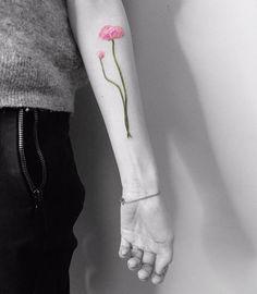 Pink Buttercup Tattoo by Vitaly Kazantsev
