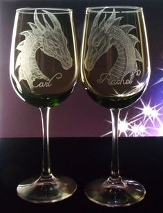 Glass glassware  wine glass Dragon glass by GlassGoddessNgraving, $63.75