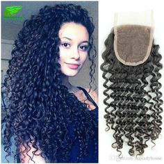 Grade Unprocessed Malaysian Curly Hair With Closure Natural Black Human… Malaysian Curly Hair, 100 Human Hair, Lace Closure, Lace Tops, Curly Hair Styles, Wigs, Crochet Necklace, Natural, Black