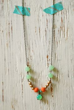 Ellie. bohemian long beaded charm necklace. Tiedupmemories