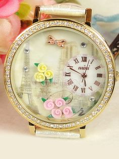 Cute Flowers White PU Leather Women's Fashion Watch at $29.99  http://www.bboescape.com/products/buy/775/watches/Cute-Flowers-White-PU-Leather-Women-s-Fashion-Watch