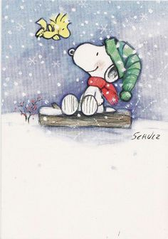 Snoopy & Woodstock in the snow
