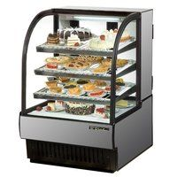 Stainless Steel Exterior True TCGR-31 Curved Glass Refrigerated Bakery Display Case 31 inch - 16.5 Cu. Ft.