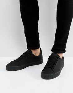 Bershka Lace Up Sneaker In Black - Black