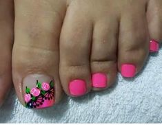 Kinda cute Pedicure Designs, Pedicure Nail Art, Toe Nail Designs, Toe Nail Art, Acrylic Nails, Pretty Pedicures, Pretty Toe Nails, Love Nails, Pink Nails
