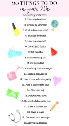 20 things you NEED to do in your 20s!! Definitely printing this out and putting it into my planner!! #bucketlist #20thingstodoinyour20s #20thingsyouneedtodo #thingstodoinyour20s #plan #planner #list #planwithroxy