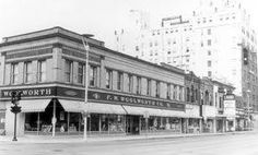 Woolworth's in the foreground and the Patterson Hotel in the background-Bismarck, North Dakota. Corner of 4th St. and Broadway.
