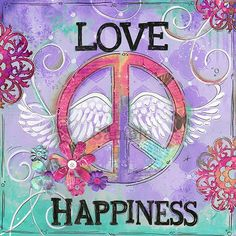 Love Peace Happiness ~ Children's Wall Art ~ Teen Art ~ Peace ~ Girls Room ~ Teen Decor ~ Art Print is part of Happy children Art - print~The watermark does not appear on the actual print ~Ships within one week of payment Paz Hippie, Hippie Peace, Hippie Love, Boho Hippie, Hippie Chick, Hippie Kids, Hippie Style, Peace On Earth, World Peace