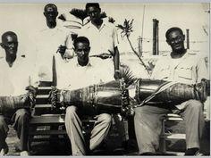 """Los Primeros Tamboreros Yoruba de Cuba Trinidad Torregrosa, Pablo Roche, Raúl Diaz, """"Pablo"""" and Giraldo Rodríguez, 1954"""
