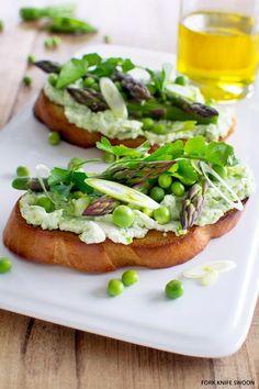Fresh Pea and Ricotta Tartine with Spring Vegetables - bread, peas, ricotta, lemon juice, asparagus, green onions, parsley