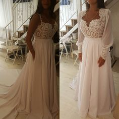 This long sleeve wedding gown has detachable sleeves. When you have a wedding dress custom made to order we can produce your garment with any preferences or changes you need.  Our US based design firm creates custom #weddingdresses for all sizes. If your dream dress is out of your price range we can also make #replicas of a dress that are very similar to the original but cost much less.  Get pricing and details on our process from our main website at www.dariuscordell.com