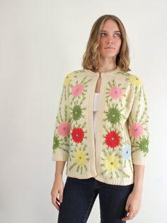 50s Floral Cardigan