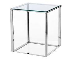 Tavolino in acciaio e vetro Ben cromo/trasparente