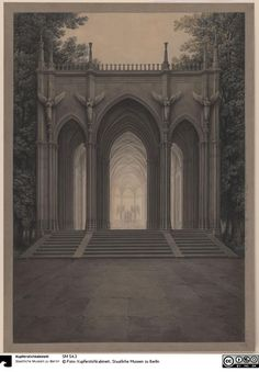 Karl Friedrich Schinkel Study for a Monument to Queen Louise 1810 Berlin House Architecture Styles, Gothic Architecture, Classical Architecture, Historical Architecture, Vernacular Architecture, Lafayette House, Architectural Elements, Architectural Drawings, Narrative Photography