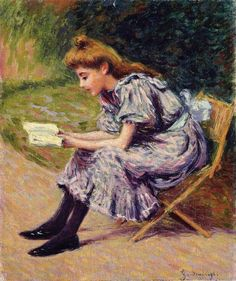 The Reader by Federico Zandomeneghi. Impressionism. genre painting. Private Collection