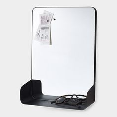 Magnetic Mirror Shelf lets you pin reminder notes and store all your necessities like keys or wallet. http://vurni.com/magnetic-mirror-shelf/