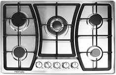 Silver Empava 36XGC202 36 Inch Stainless Steel Gas Professional 5 Italy Sabaf Burners Stove Top Certified with Thermocouple Protection Cooktops